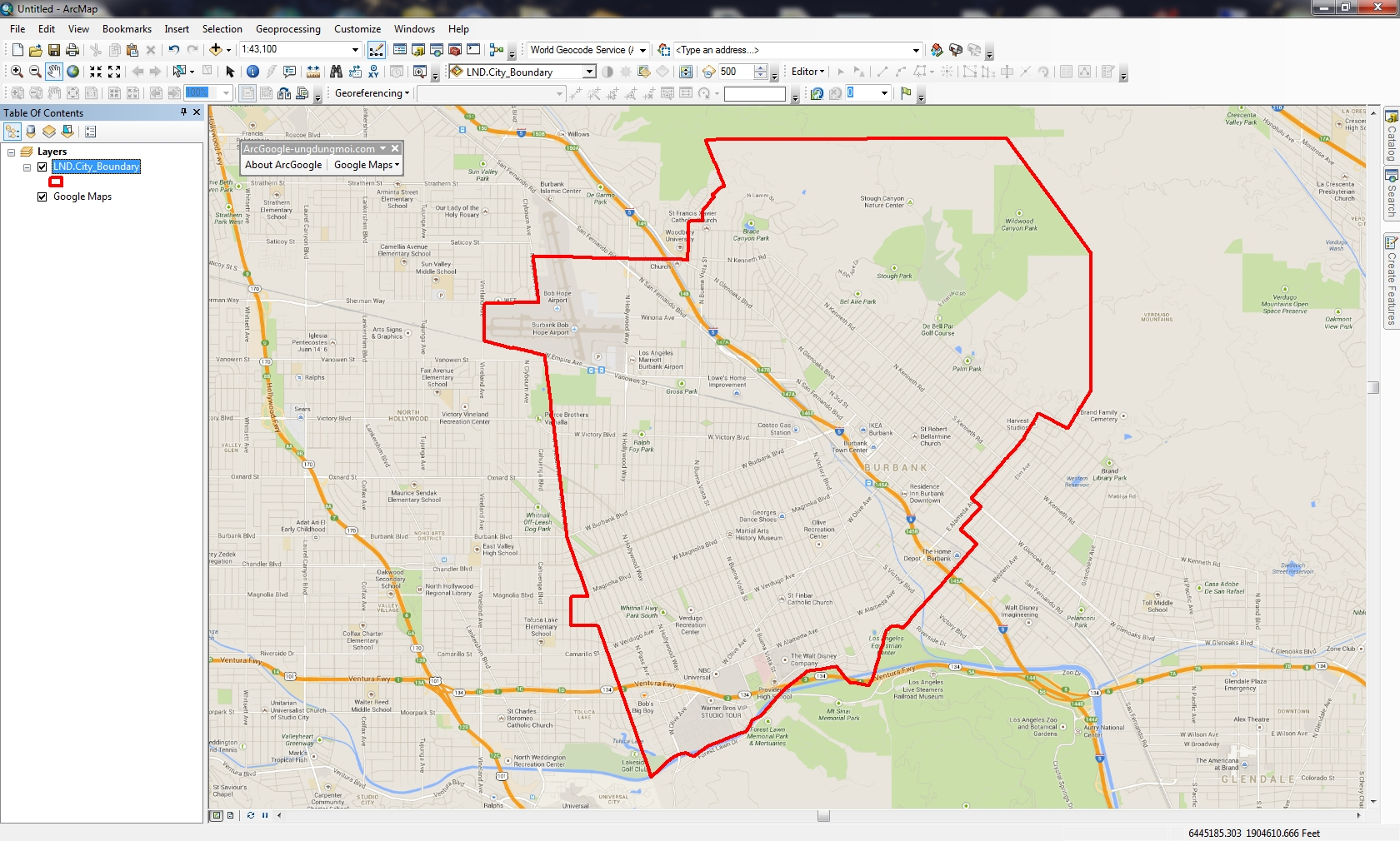My Adventure with Google Maps in ArcMap | SoCalGIS org