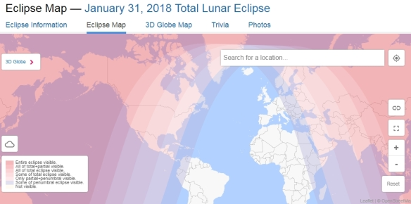 January 31 Lunar Eclipse Map.Rare Total Lunar Eclipse Tomorrow Socalgis Org