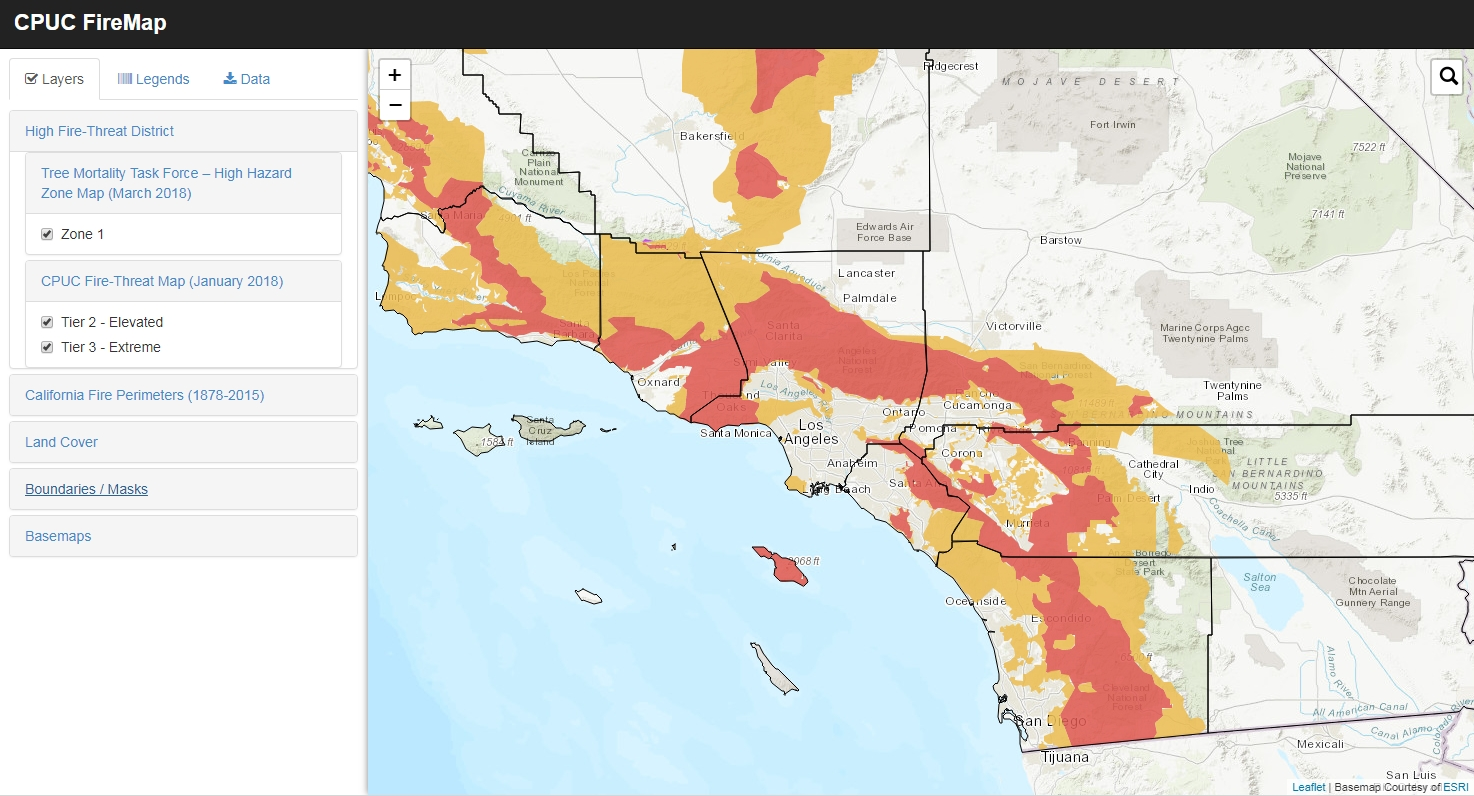 High Fire-Threat District Map | SoCalGIS.org on pg&e fire map, northern california fires map, california active fires map, county fire map, san jose fire map,